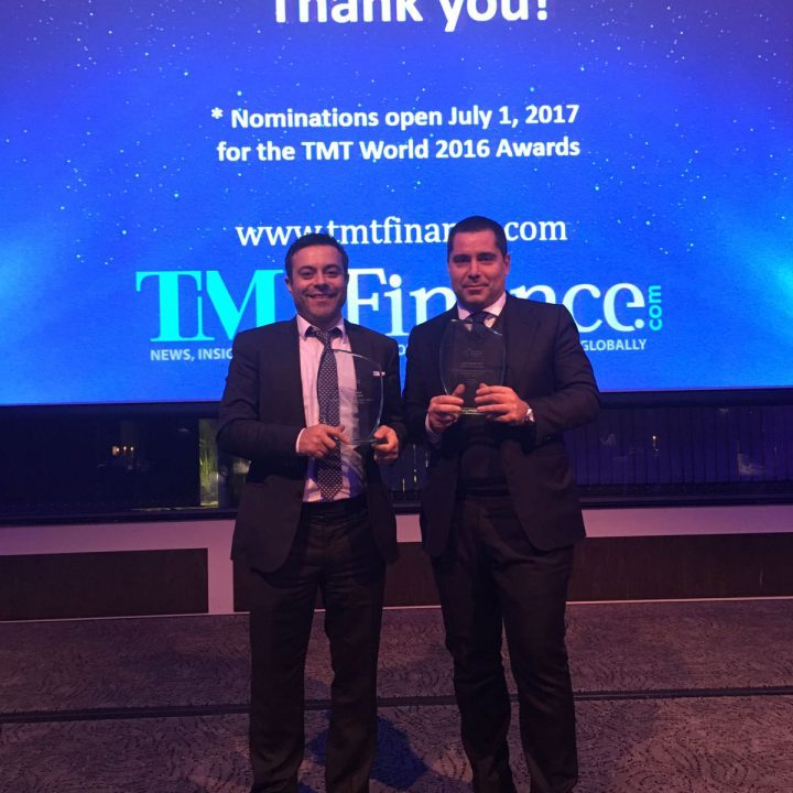 Riccardo Silva & Andrea Radrizzani with TMT Finance award