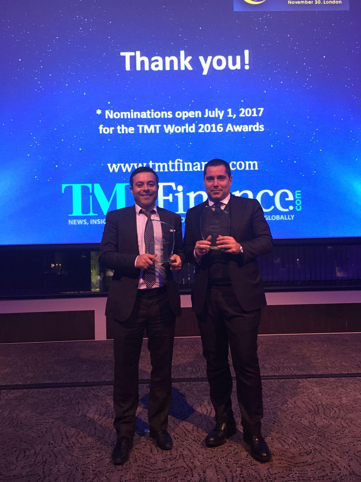 Riccardo Silva & Andrea Radrizzani with TMT Finance award