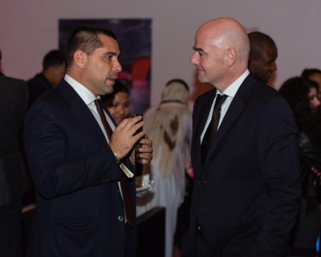 Riccardo Silva with FIFA President Gianni Infantino