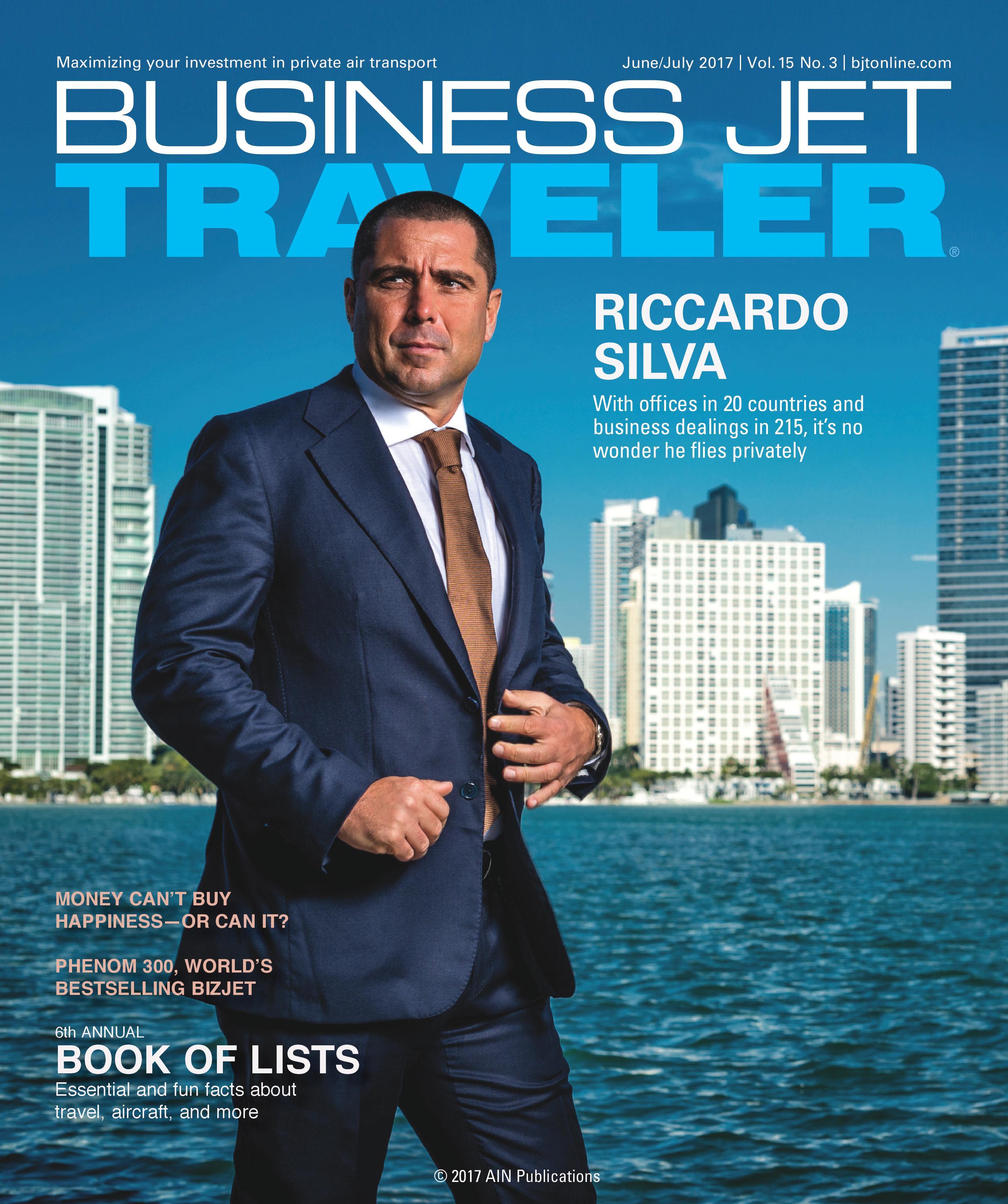 Riccardo Silva on the cover of Business Jet Traveler magazine