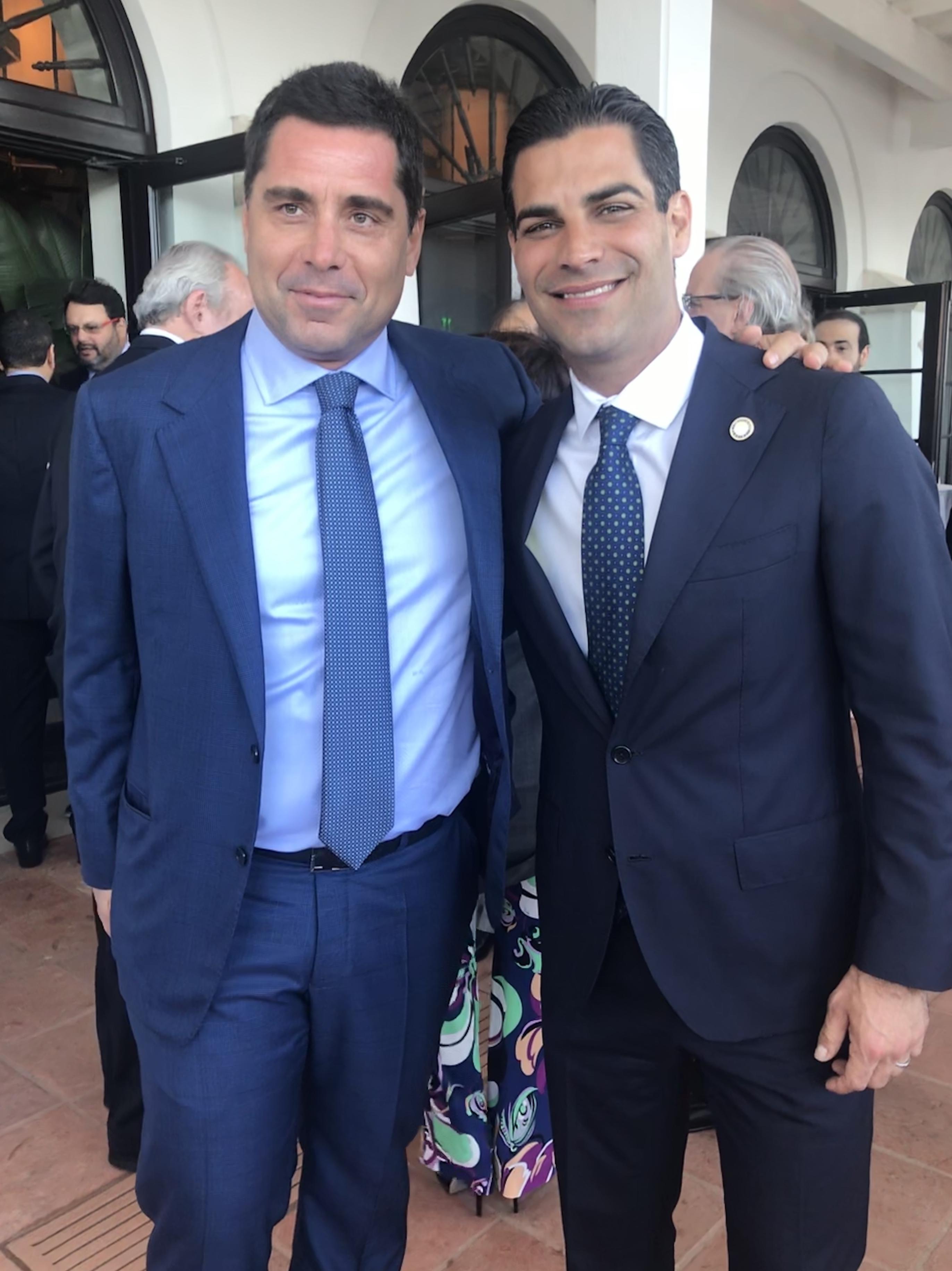 Riccardo Silva and Francis X Suarez, the Mayor of Miami
