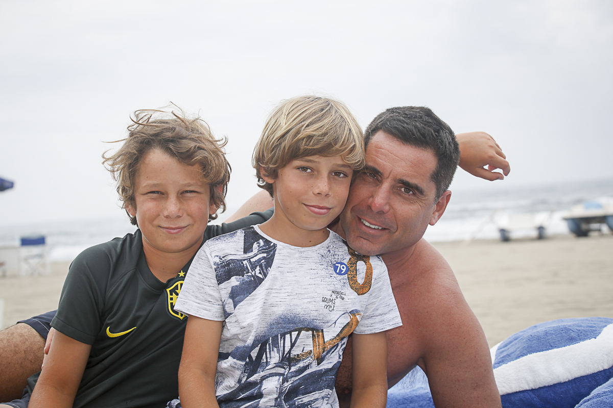 Riccardo Silva with his sons Giorgio Silva and Nikolay Silva during family trip in Italy