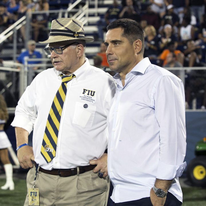 Riccardo Silva and The President of FIU, Dr Mark Rosenberg at Riccardo Silva Stadium