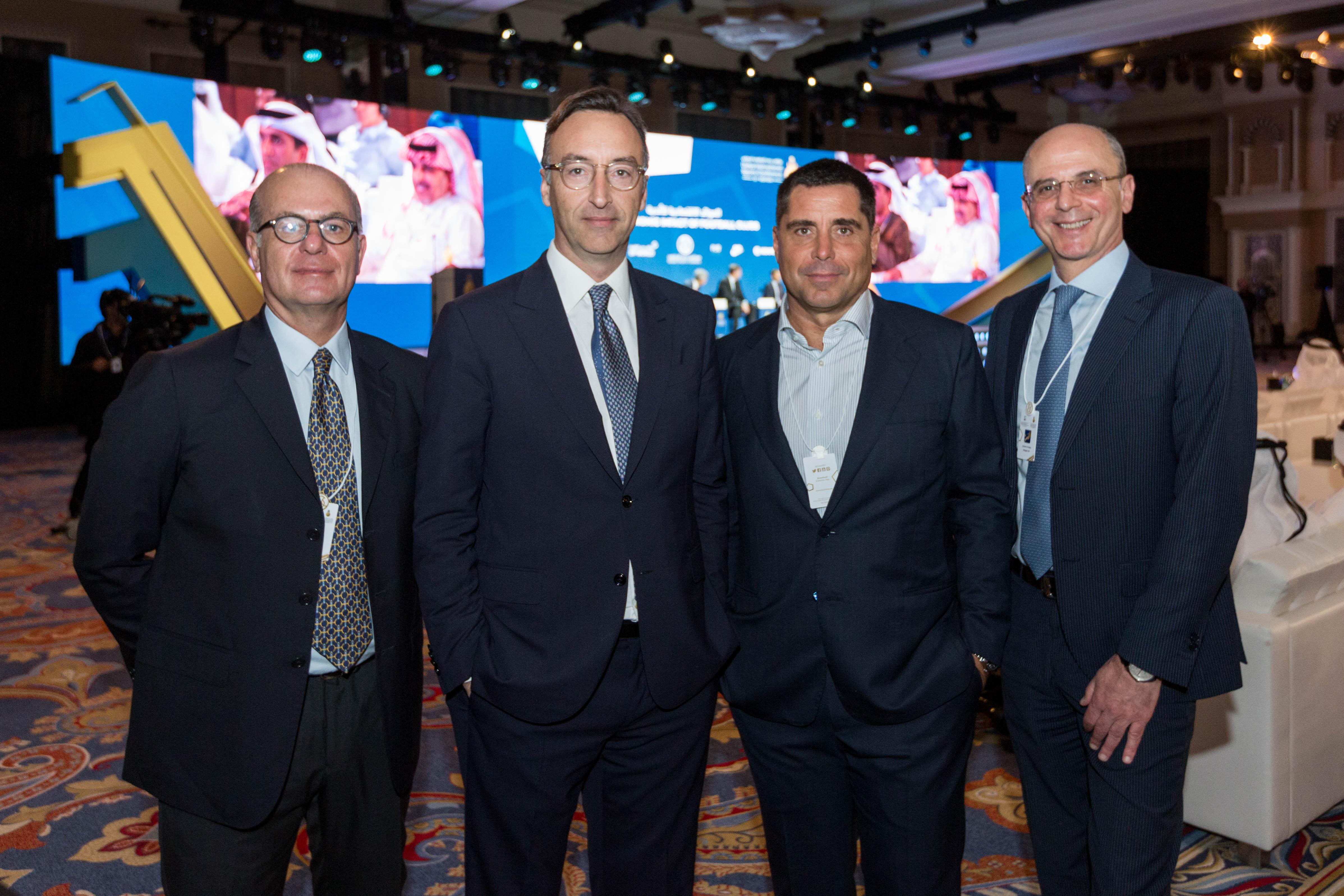 Umberto Gandini, CEO of Silva International Investments Marco Auletta, Riccardo Silva and Antonio D'addio at the Globe Soccer Awards 2019