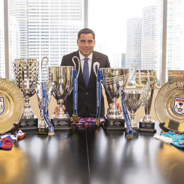 Riccardo Silva celebrates The Miami FC's 8th trophy in only 4 years of history of the club