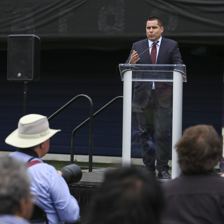 Riccardo Silva addresses the media at the inauguration of The Riccardo Silva Stadium