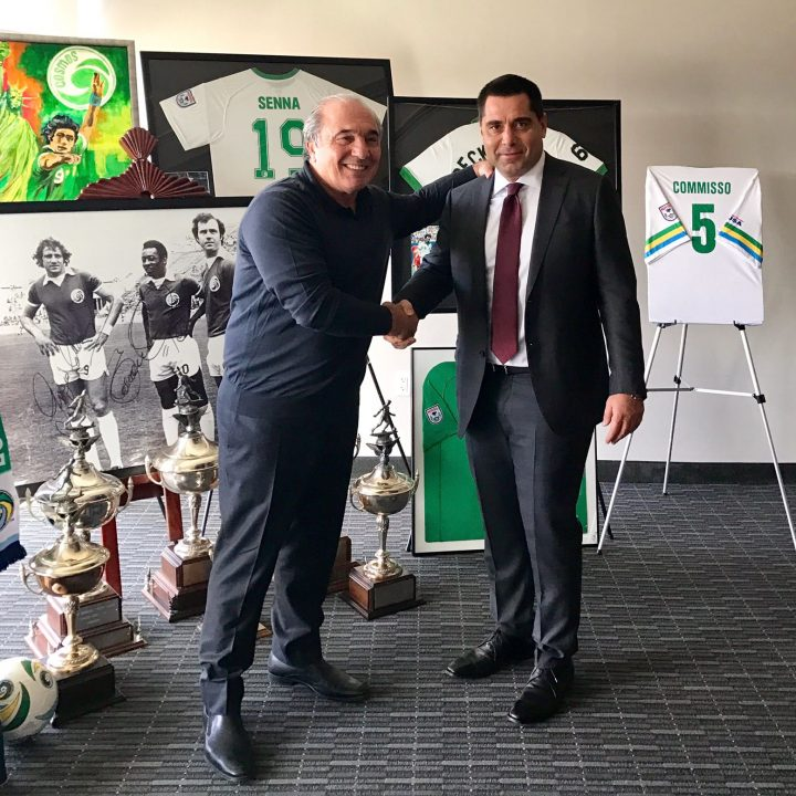 Riccardo Silva with Mediacom and New York Cosmos owner Rocco B. Commisso
